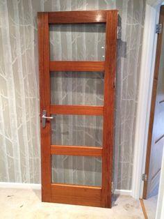 Original 1960u0027S Hardwood Door With Glass Panels   eBay & Reclaimed Internal Door 4 Obscure Glass Panel   eBay   Office/Craft ...