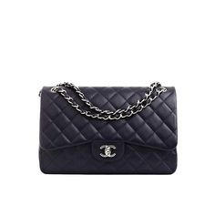 Chanel Navy Quilted Caviar Jumbo Classic 2.55 Double Flap Bag Never... (36.080 DKK) ❤ liked on Polyvore featuring bags, handbags, bolsas, purses, blue handbags, chanel purses, blue quilted handbag, navy blue handbags and quilted bag