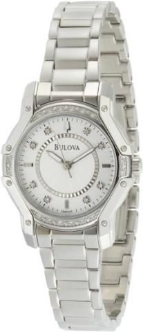 Bulova Women's 96r137 Silver Case Diamond White Dial Watch