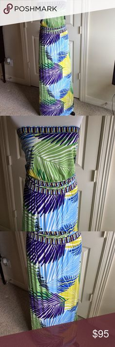 BCBGMAXAZRIA Strapless Dress This gorgeous strapless multicolored print dress has the following features: 53 inches long, band with elastic at waist, inside bra with elastic for secure hold. 93% Rayon/ 7% Spandex. Size M.  Worn once and in excellent condition.  Very pretty dress! 👍 BCBGMaxAzria Dresses Strapless