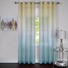 Rainbow Grommet Curtains - Blue Sheer & Semi Sheer Curtains Rainbow Grommet Curtain Panels feature a semi sheer elegant transitioning of solid colors. Sheer Curtain Panels, Grommet Curtains, Sheer Curtains, Panel Curtains, Window Panels, Window Sheers, Panel Bed, Yellow And Grey Curtains, Grey And Yellow Living Room