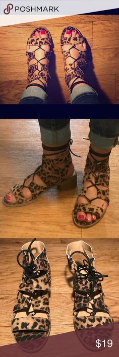 8654d60f8f Wild Diva Lace Up Leopard Gladiator Sandals