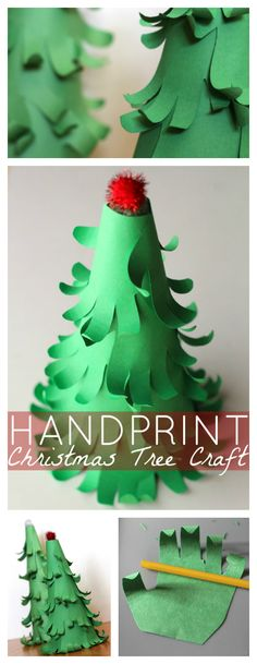 Easy 3D Handprint Christmas Tree Craft | Easy holiday craft idea for kids - Raising Whasians via @raisingwhasians