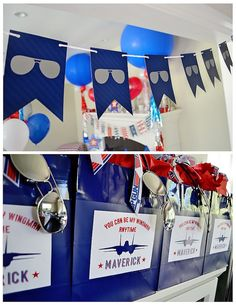 "When you name your son Maverick, you need to throw him a ""Top Gun"" party. So we did just that and had a ""Top Gun"" birthday party. Planes Birthday, Planes Party, 1st Birthday Themes, Airplane Party, 1st Boy Birthday, Boy Birthday Parties, Birthday Ideas, Top Gun Party, Banner"