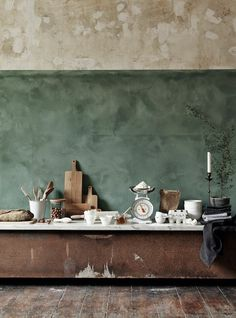 vosgesparis: Raw walls and a stylish mood board | Inspiration in green & brown kitchen green dining room