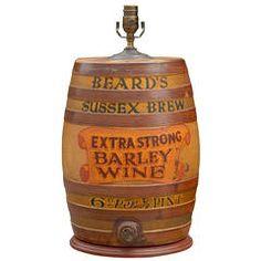 Large English Spirit Barrel Lamp