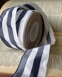 pewter and white striped wired ribbon by ShyMyrtle on Etsy