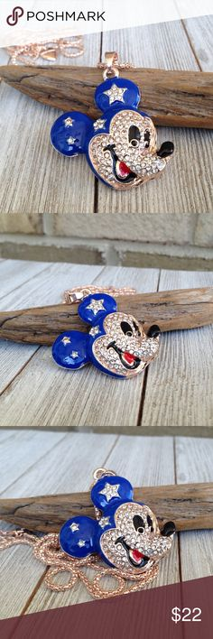 "Mickey Mouse Necklace Rhinestone Mickey Mouse head necklace. 28"" necklace Jewelry Necklaces"