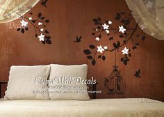 Vinyl wall decals tree birds wall decal wall art sticker by cuma, $58.00
