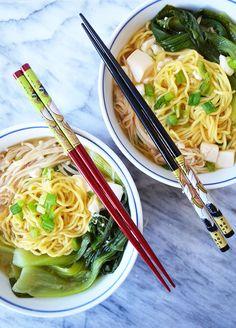 Miso Soup with Enoki Mushrooms & Baby Bok Choy | Recipe | Miso Soup ...