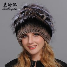 fee3b77a6c6 Winter Fur Hat for Women Real Rex Rabbit Fur Hats with Silver Fox Fur  Flower Knitted