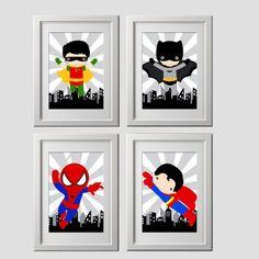 superhero wall art vintage color superhero bedroom decor