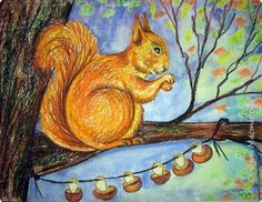 """Благодаря работе Марины """"Мы рисуем осень"""" (http://stranamasterov.ru/node/1049345), у нас тоже появилась своя осенняя рощица. Первая работа моя, потом немного детских (возраст 5-6 лет). фото 18"""