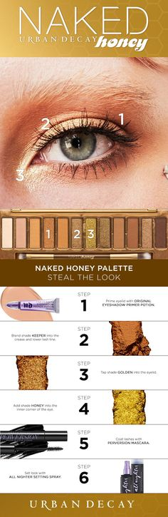 Shade 'Honey' turns your look from 0 to 💯 real quick. Global Artist Steve Kassajikian created this blown-out, golden look using the Naked Honey Palette in shades Keeper, Golden & Honey, and Honey Lip Plumper. Make Up Palette, Naked Palette, Makeup Dupes, Skin Makeup, Makeup Hacks, Eyeshadow Primer, Eyeshadow Palette, Too Faced, Maquillage Urban Decay