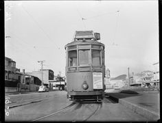 Number 2 tram heading to Courtenay Place with a view of Kent Terrace in the background. Photograph taken in 1950 by an Evening Post staff photograp. Wellington City, The Hutt, Kiwiana, What Is Like, Old Pictures, New Zealand, Terrace, Cities, History