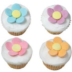 Bite-Size Buds Cupcakes - These Mini Muffin Pan cupcakes go together in a jiffy. Jumbo Confetti Sprinkles fashion the flower forms, which makes this the perfect dessert for times when you want to make an impact but schedules are tight. Confetti Cupcakes, Fancy Cupcakes, Flower Cupcakes, Baking Cupcakes, Yummy Cupcakes, Cupcake Cakes, Cup Cakes, Decorated Cupcakes, Pretty Cupcakes