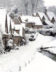English village under snow