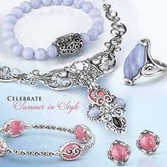 Is there a summer party on your calendar? Be perfectly pretty in these party picks! #colorfulgems #celebratesummer #bracelets #rings #earrings #carolynpollack #jewelry #sterling #partytime