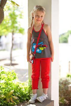 Top, Waving and red baggy. #summer #kids #designer-clothes @www.beeetu.com