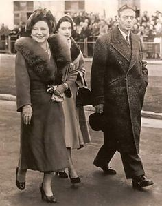 Queen Elizabeth, Princess Margaret and King George VI of the United Kingdom, only a few days before the death of the King, going to see Princess Elizabeth and Prince Phillip off to their Africa tour. She would come back as Queen Elizabeth.
