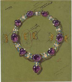 Dessin de la parure Cartier en améthystes et turquoises de Marjorie Merriweather Post