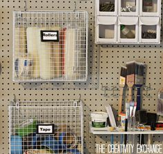 DIY Garage Pegboard Storage Wall using only inches of Depth. {The Creativity Exchange} Create an easy DIY narrow pegboard storage wall for creating an instant solution to organizing the garage. Plan and step by step instructions. Garage Organization Systems, Garage Tool Storage, Pegboard Organization, Garage Tools, Shed Storage, Wall Storage, Craft Storage, Storage Ideas, Organizing Ideas