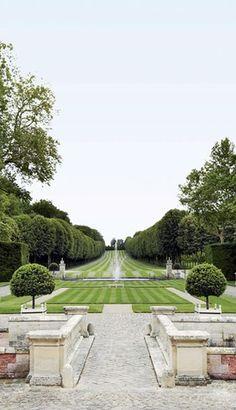 Valentino fashion designer Chateau de Wideville outside Paris. Gardens designed by Wirtz International