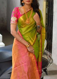 Uppada tissue saree in green and pink with pink blouse piece,handwoven uppada saree,partywear saree,green uppada tissue saree Wedding Saree Blouse Designs, Pattu Saree Blouse Designs, Saree Blouse Patterns, Pink Saree Blouse, Blue Saree, Yellow Blouse, Lehenga Designs, Kurta Designs, Dress Designs