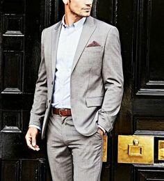 Clean & simple- Pair your Pebble grey suit w/ lavender J. Hilburn w/ waistline monogram w/ brown monk straps and coordinating belt.