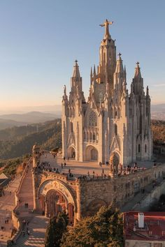Temple Expiatori del Sagrat Cor basilica, atop summit of Mount Tibidabo, Barcelona, Catalonia, Spain ❤️ beautiful!
