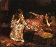 Un juego de ajedrez, pintura Henry Siddons Mowbray