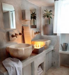 Amazing Bathroom With Plain Washbasin Made From Stone Accent home trends design photos, home design picture at Home Design and Home Interior Bad Inspiration, Bathroom Inspiration, Natural Stone Bathroom, Natural Stones, Interior And Exterior, Interior Design, Tadelakt, Beautiful Bathrooms, My Dream Home
