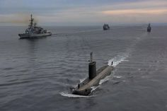 FS Montcalm (D642) (left) and 2 other units from France and Italy with Spanish submarine.Ships and submarines participating in the NATO Submarine Command-led exercise Dynamic Manta have their drills on March 4.  Spanish F-80 frigate Santa María arrived at her homeport in Rota Naval Base on March 10 after participating in the multinational exercise along with the French replenishment ship FS Var and the frigate FS Montcalm and other anti-submarine warfare (ASW) escorts from Italy and France.