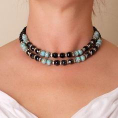 Vintage Double Strand Confetti Glass Bead and Rhinestone Necklace. $37.00, via Etsy.