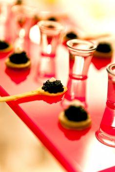 "party food inspiration: caviar on edible cracker ""spoons"" w/ vodka shots"