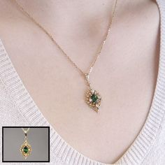 Green Maine Tourmaline and Diamond Necklace in 14K yellow gold
