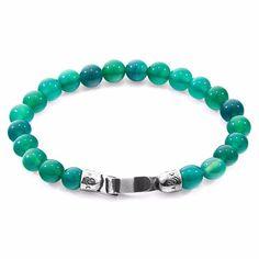 ANCHOR & CREW - Green Agate Outrigger Silver & Stone Bracelet