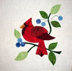 SOLD - Red Cardinal Baltimore Album Appliqued  Quilt Block by zizzybob