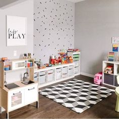 Our grey geometric playmat is the perfect soft play surface in this gorgeous monochrome playroom. Wipe clean and non-toxic, these mats are the perfect choice for your play space. Small Playroom, Toddler Playroom, Playroom Design, Montessori Playroom, Playroom Decor, Conservatory Playroom, Ikea Trofast, Kids Play Spaces, Kids Bedroom
