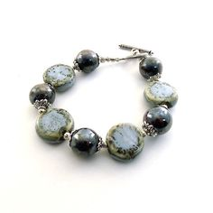 Blue Gray Ceramic Bracelet Silver Beaded by CinLynnBoutique
