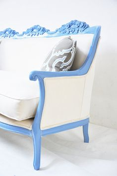 Items similar to Classic baby blue couch on Etsy Funky Decor, Blue Office, Blue Couches, Name Design, Baby Blue, Diva, Accent Chairs, Armchair, Living Room