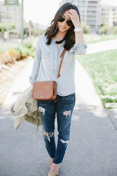 Blogger Crystalin Marie wears a Gap trench coat layered over denim on denim. http://gap.us/1um0izu