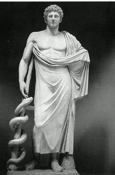 """The ancient greek god of healing and medicine, Asclepius, and his staff. Asclepius may have been a true healer in Ancient Greece. Temples of Asclepius would allow non-venomous snakes roam the floors of their temples as part of healing rituals. To this day, the Rod of Asclepius is still used as a medical symbol. The original Hippocratic Oath began; """"I swear by Apollo the Physician and by Asclepius and by Hygieia and Panacea and by all the gods..."""" 
