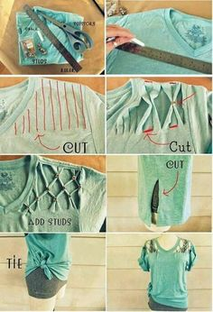Perfect for reusing old t-shirts for workouts Diy Cut Shirts, Old T Shirts, T Shirt Diy, Sewing Clothes, Custom Clothes, Cut Shirt Designs, Shirt Alterations, Diy Fashion, Fashion Outfits