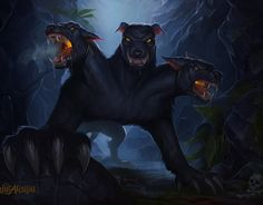 It's Cerberus, Hades' three headed dog whom guards his black palace.