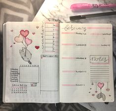 Cute February pusheen weekly spread
