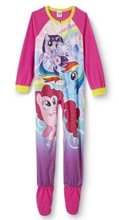 My Little PONY Fleece FOOTED Pajamas NeW Girls 6 6x Zip-Up Winter Footie dafeadfd2