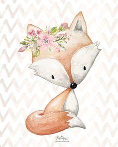 Nursery Woodland Animals Print Watercolor set of 4 fox rabbit deer raccoon flowers featherschevron hand painted woodland prints Forest Nursery, Woodland Nursery, Nursery Art, Fox Nursery, Nursery Design, Baby Design, Nursery Decor, Forest Animals, Woodland Animals