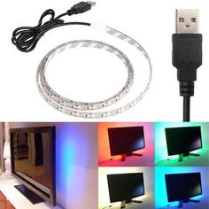 USB Power Highlight 0.5/1/2/5M DC5V 3528SMD noWaterproof RGB Backgroud Lighting LED Strip Indoor Home Decoration - GKandAa