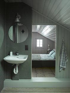 Lovely Greens In An Attic Bath In The Berdorf Chalet House